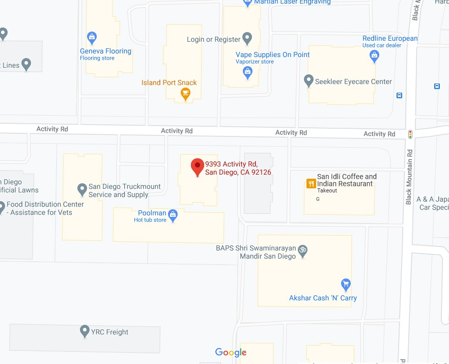 Zoom in map of Makello and Green Energy EPC Office at 9393 Activity Road, Suite C, San Diego, CA 92126
