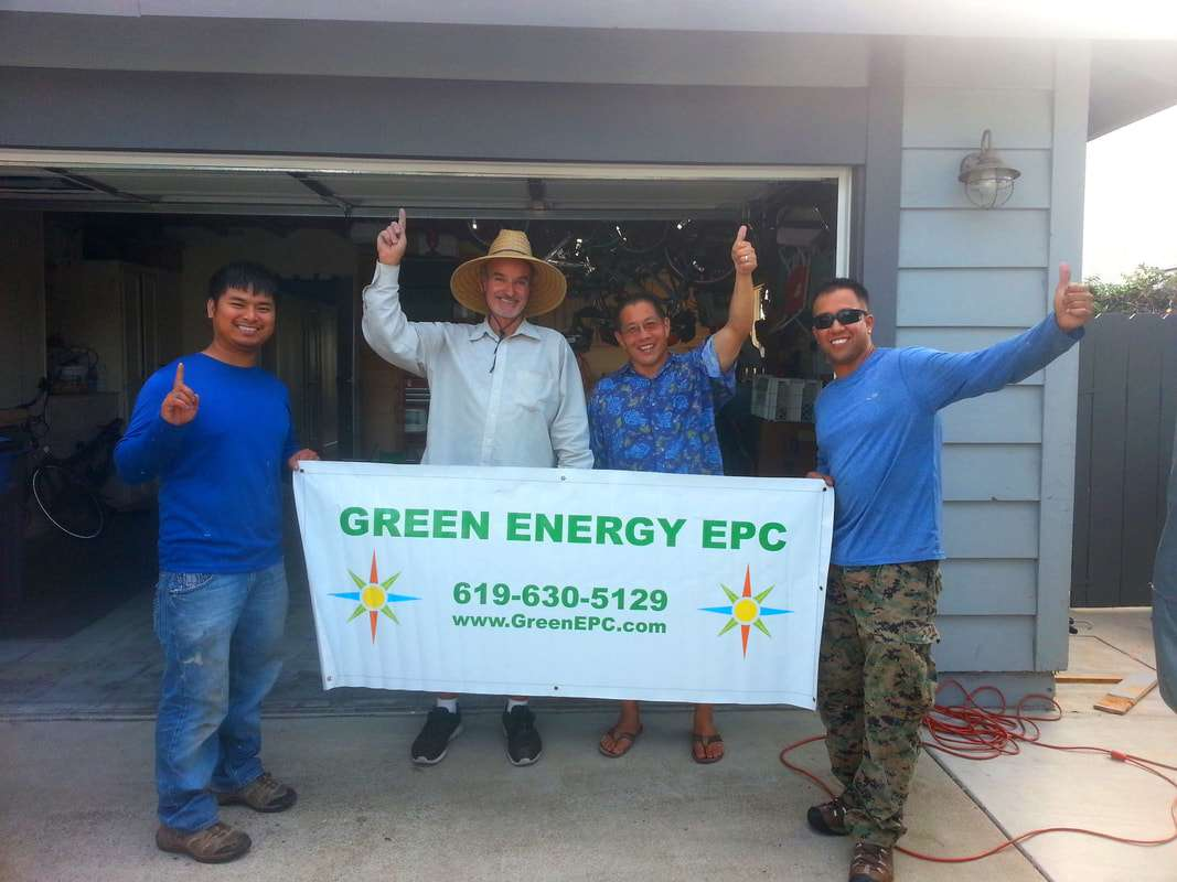 Diane and Ken M. 3.66kW DC solar PV + Emergency Backup Power! Green Energy EPC Solar PV installation team (left to right): Tan Ho, Phil Salamone, (customer Ken M.), and Albert Belardes.