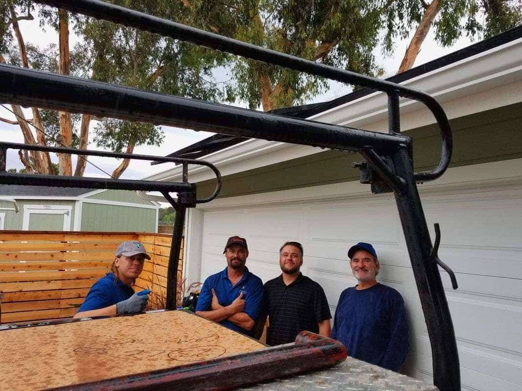 Green Energy EPC Solar PV installation team: Alec Bishop, Laurence Crispin, Steve Alden, Phil Salamone (Electrician C-46)