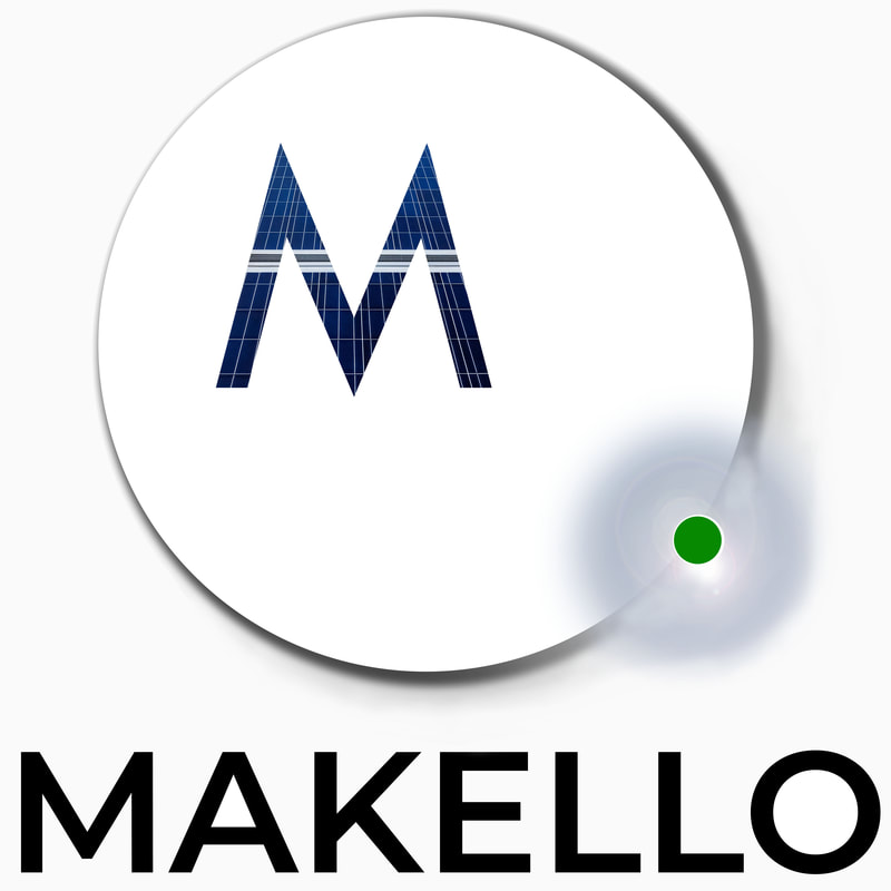 Makello company logo, inspired by solar eclipse and solar panel pattern.