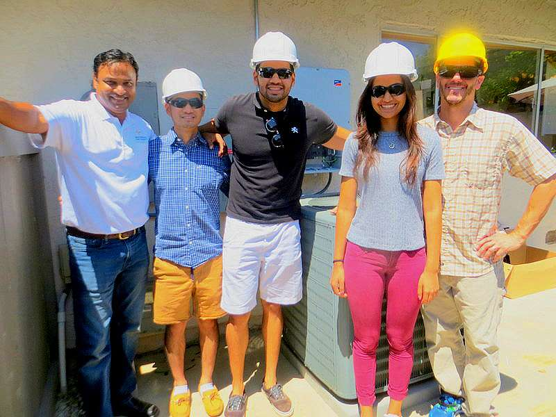 Carole & Bob S., Cardiff, 5.76kW DC solar PV + LEDs + Emergency Backup Power! Left to Right: Sam Syed, owner Green Energy EPC, plus Makello Energy Efficency interns, Sam Bunarjo, Ashiq Syed and Bhavna Gupta, with Charlie Johnson, CEO, Makello.