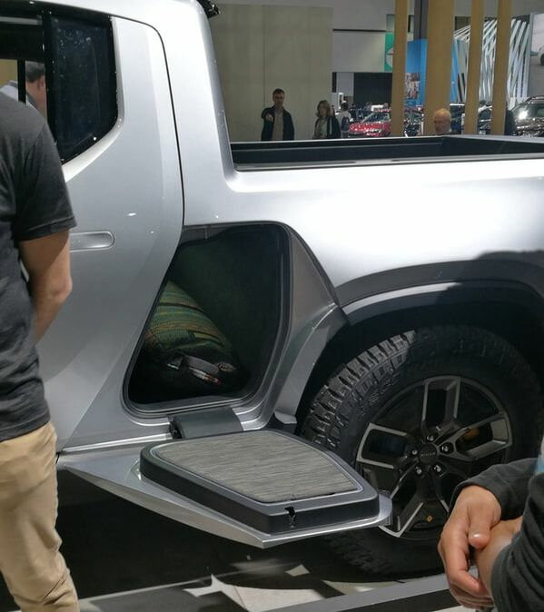 Storage space in a Rivian R1T electric truck on 2018 LA Auto Show on Makello Blog