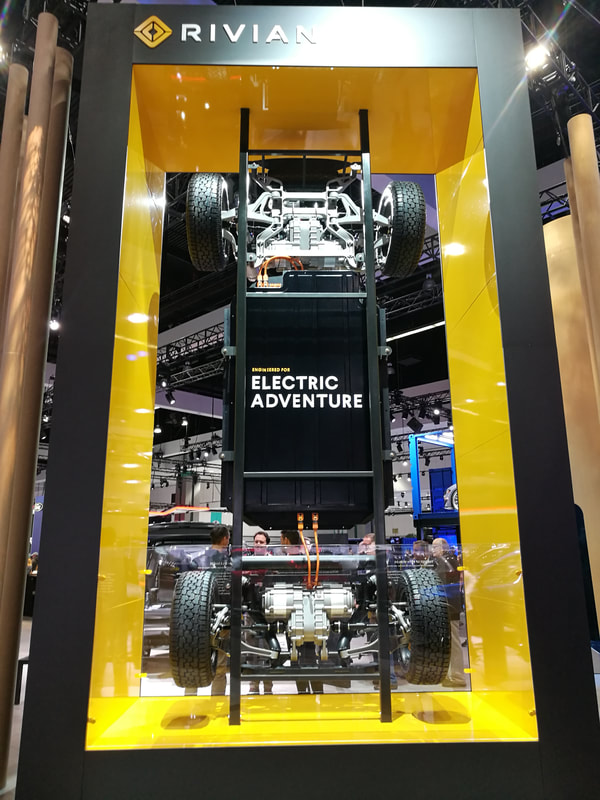 The electric platform of the Rivian R1T electric truck on 2018 LA Auto Show on Makello Blog