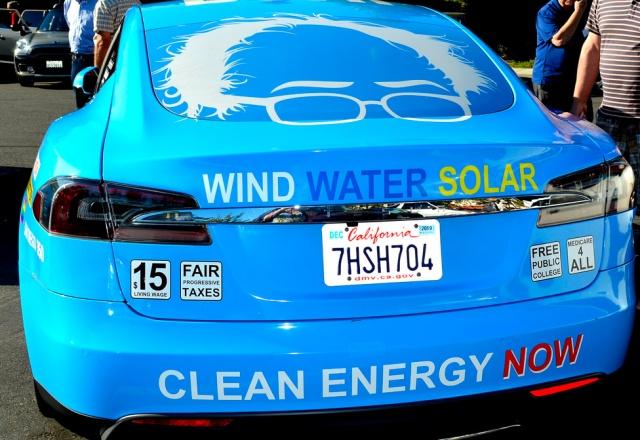 Tesla Model S with renewable energy livery