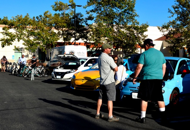 Plug-In Vehicles on display outside Vista Library