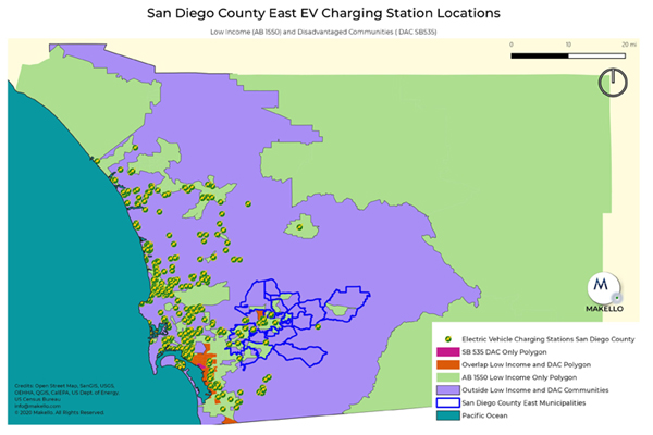 San Diego Public EV Charging Stations. East County featured
