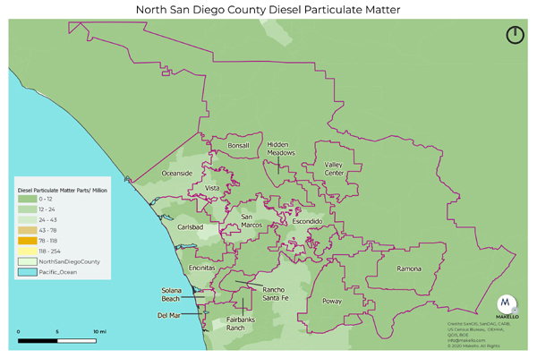 diesel particulate matter pollution North County San Diego