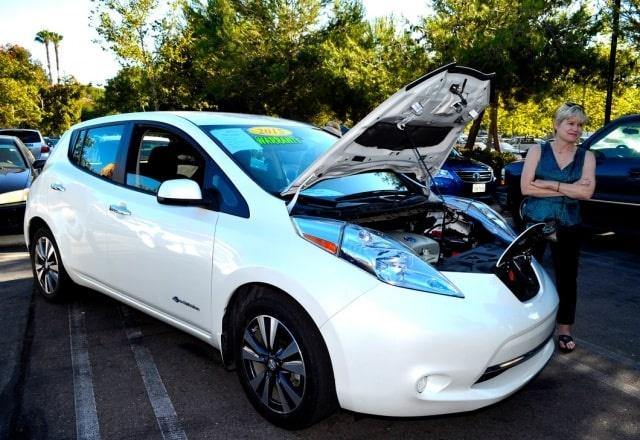 A Nissan LEAF is on display