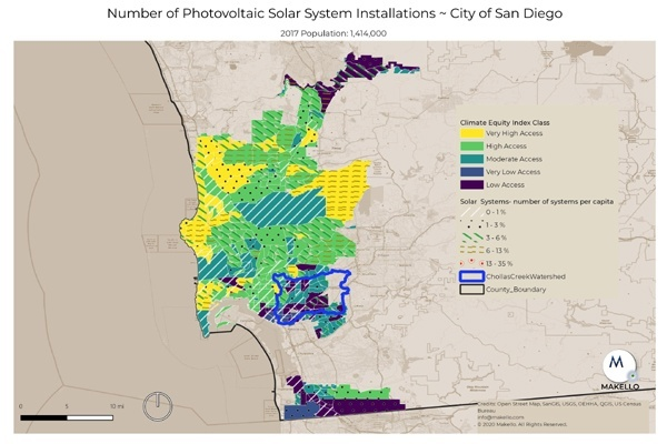 Solar electric installations in the City of San Diego