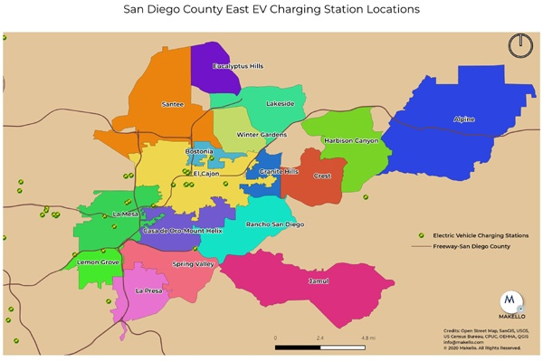 Electric Vehicle Charging Stations in East County San Diego