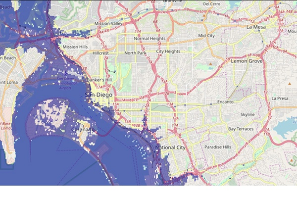 The projection of a new coastline with a 7m sea level rise will cover a large portion of the existing Chollas Creek oceanfront according to flood.firetree.net.