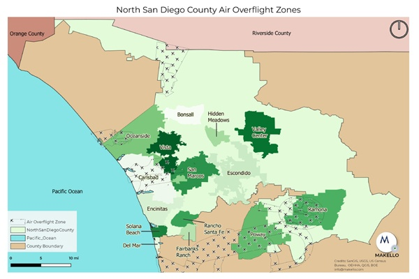 Air pollution under flight paths and near highways increases potential health impacts and may contribute to higher asthma rates in North County San Diego.