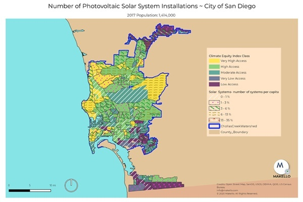 Solar electric installations in the City of San Diego.
