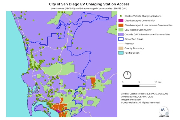 EV charging stations in the City of San Diego