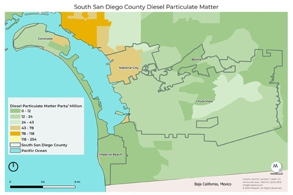 Diesel Particulate matter in South County San Diego