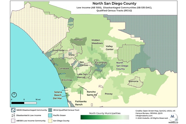 Disadvantaged Communities (SB535 DAC) and Low Income Communities (AB 1550) in North County San Diego are eligible for additional SGIP Rebates.
