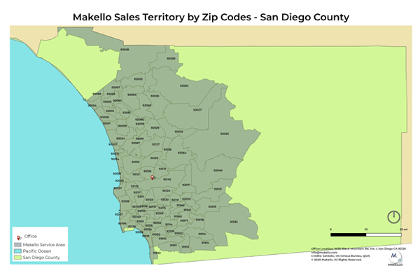 Makello Service Area Map with zip codes